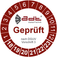 ADT DGUV/VDE Prüfsiegel