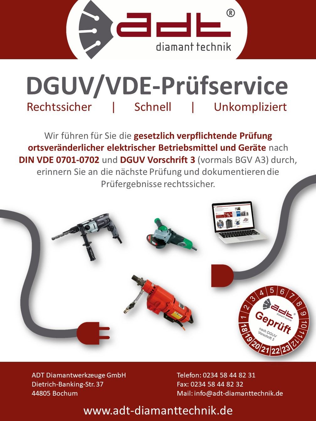 Flyer Prüfung DGUV