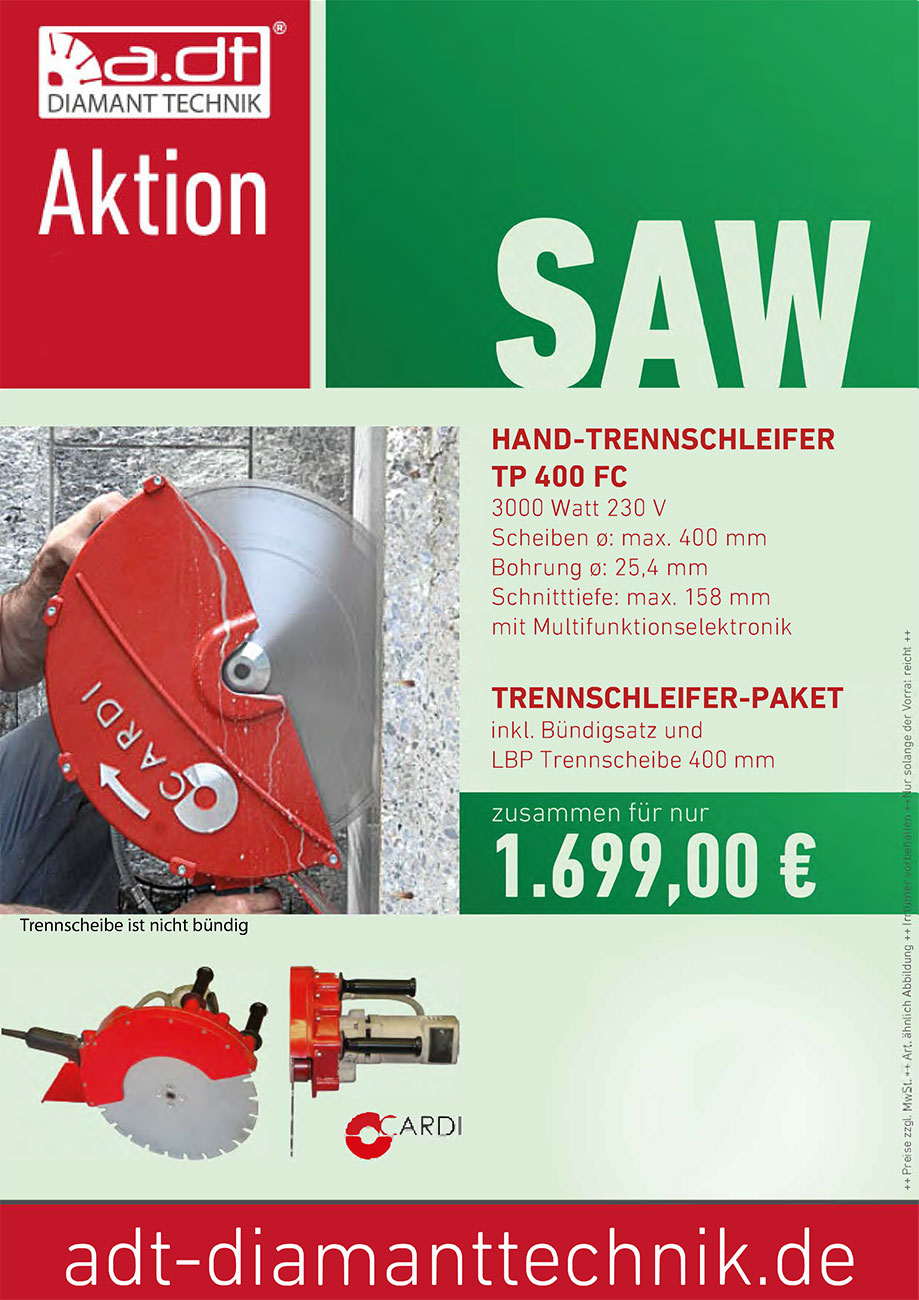 Angebot Mauersäge CARDI TP 400 FC Handsäge + Bündigflansch + Diamantscheibe